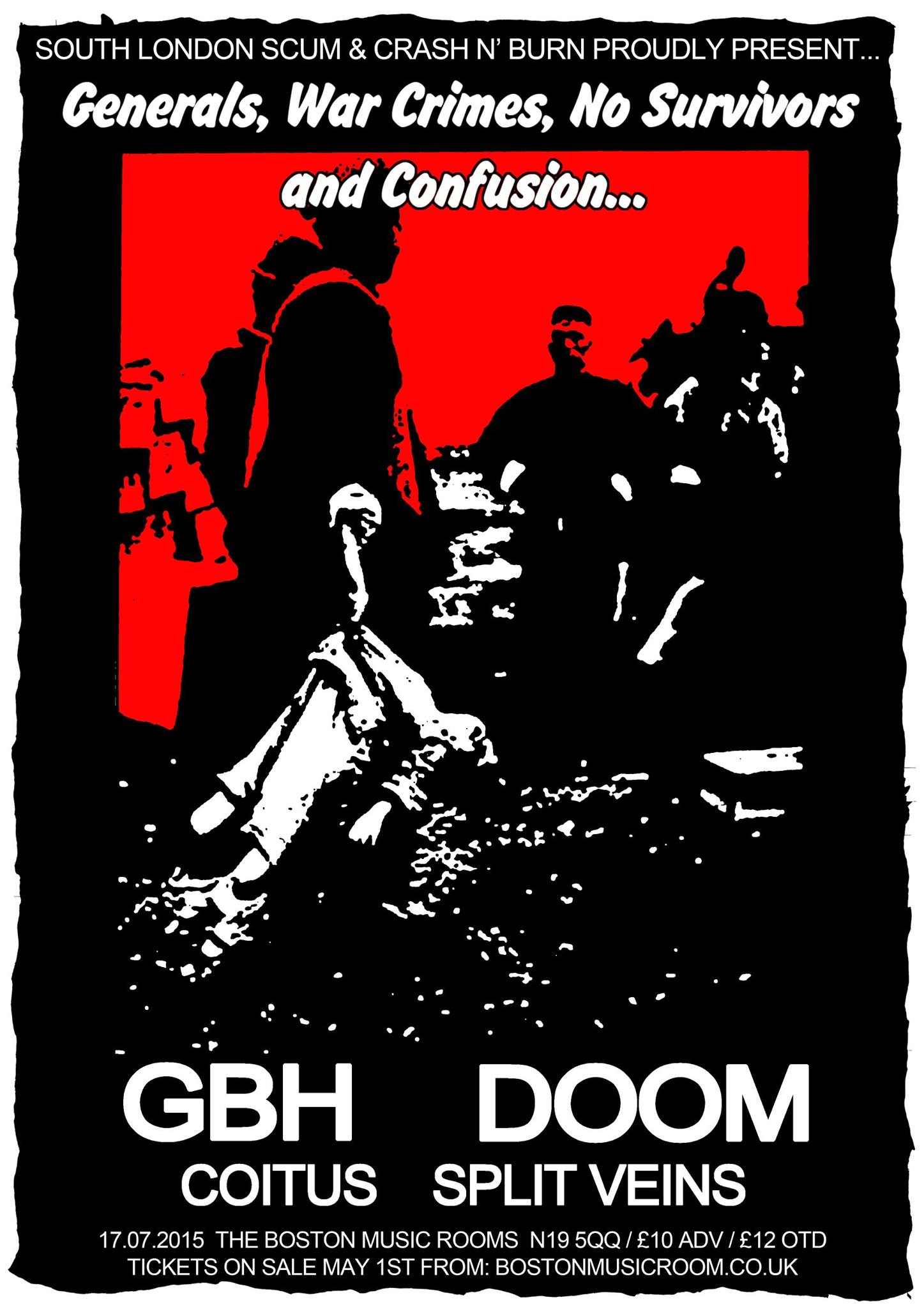 GBH / Doom / Coitus / Split Veins poster