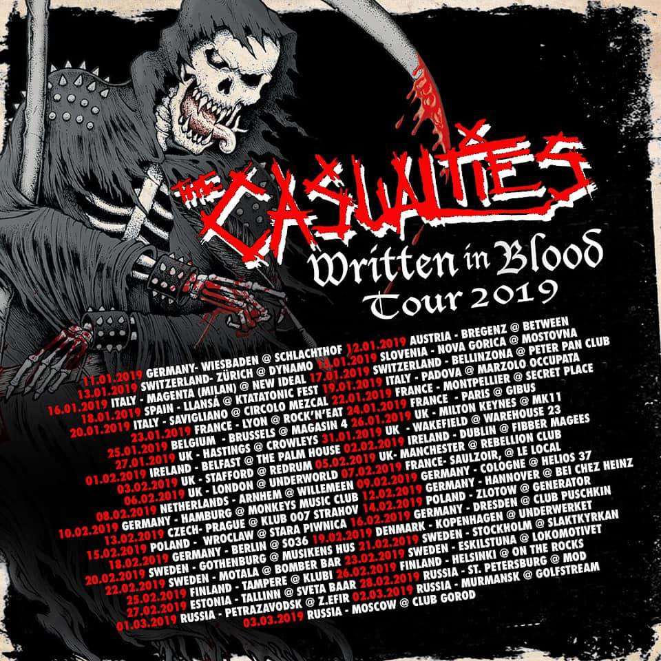 The Casualties Written in Blood Tour 2019