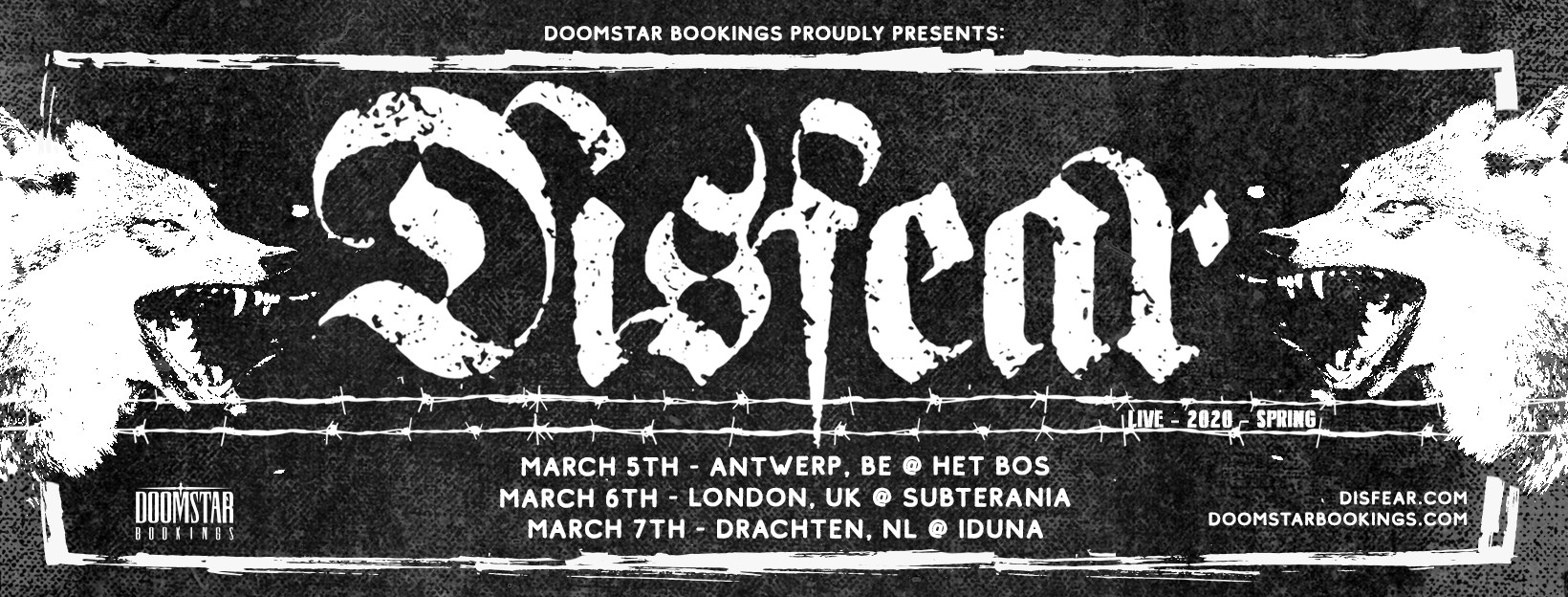 Disfear - 3 European dates 2020 - Doomstar Bookings poster